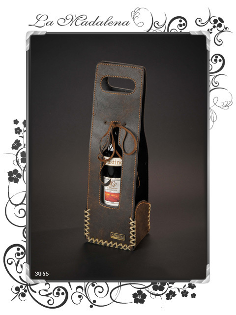 3055 Single wine bottle leather holder, vertical