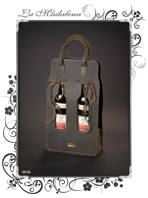 3056 Doble wine bottle leather holder, vertical
