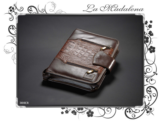 300CR Stationery: leather notepad folder, crocodile printed style, zipper