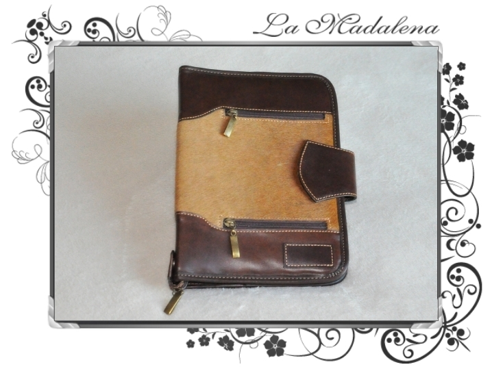 300P Stationery: Calf hair leather notepad folder, zipper