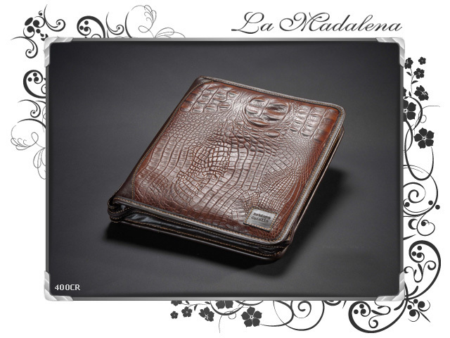 400CR Stationery: leather notepad folder, crocodile printed style, zipper