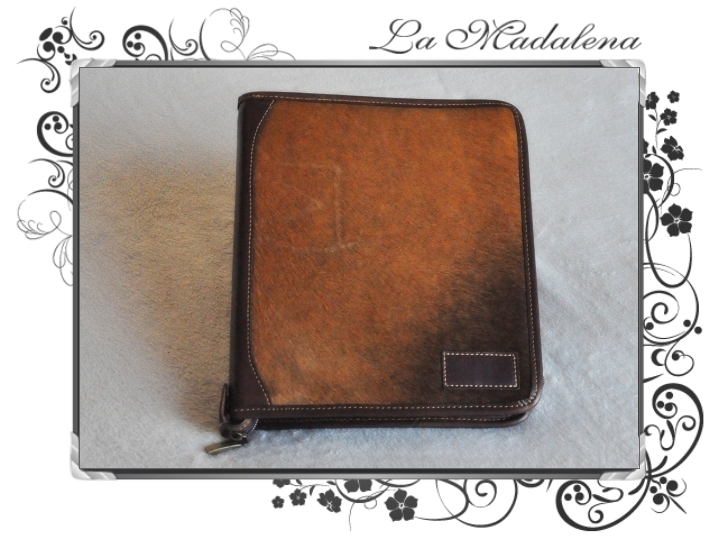 400P Stationery: Calf hair leather notepad folder, zipper