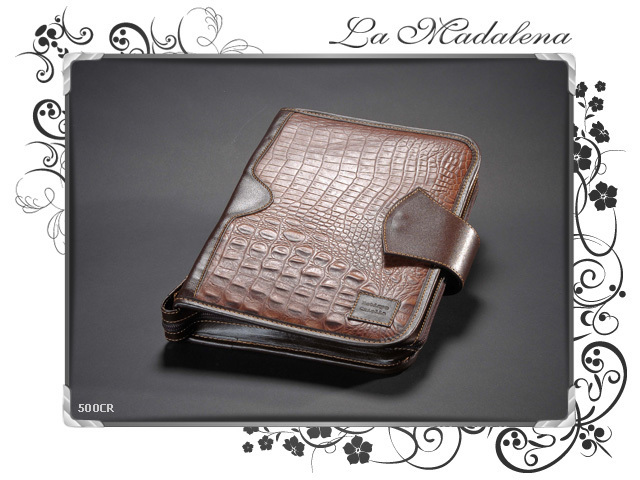 500CR Stationery: leather notepad folder, crocodile printed style, zipper