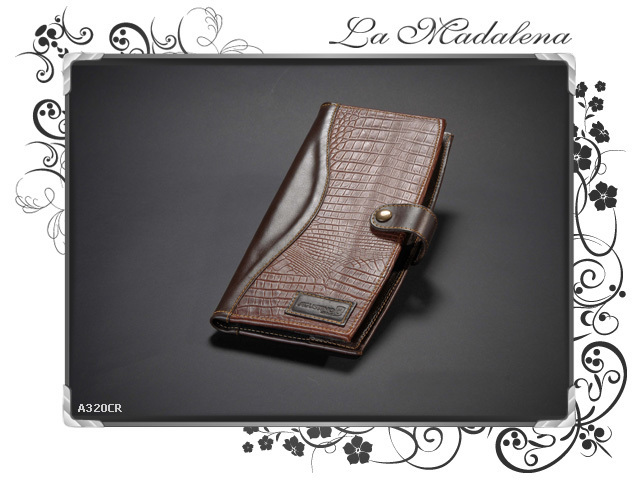 320CR Stationery: cards/menu Holder, leather, crocodile printed style