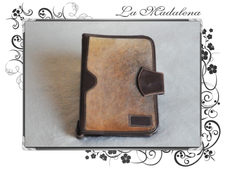 500P Stationery: Calf hair leather notepad folder, zipper