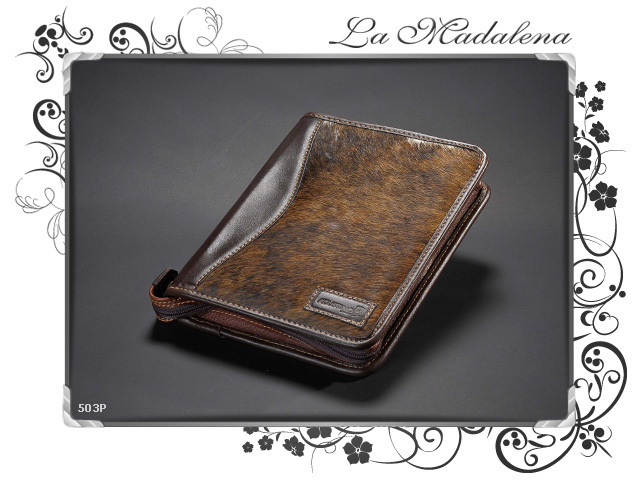 503P Stationery:  Calf hair leather notepad folder, narrow, zipper