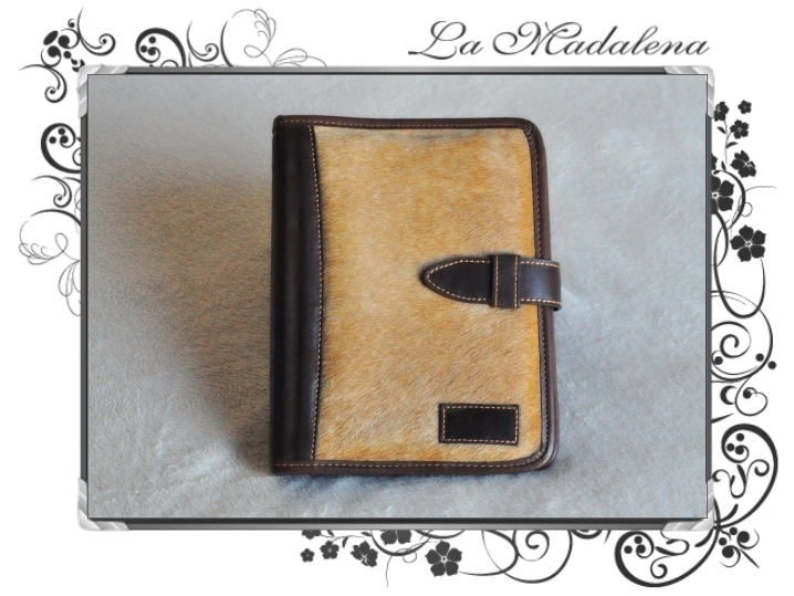 504P Stationery:  Calf hair leather notepad folder, narrow, zipper