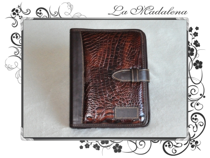 504CR Stationery: leather notepad folder, crocodile printed style, narrow, zipper