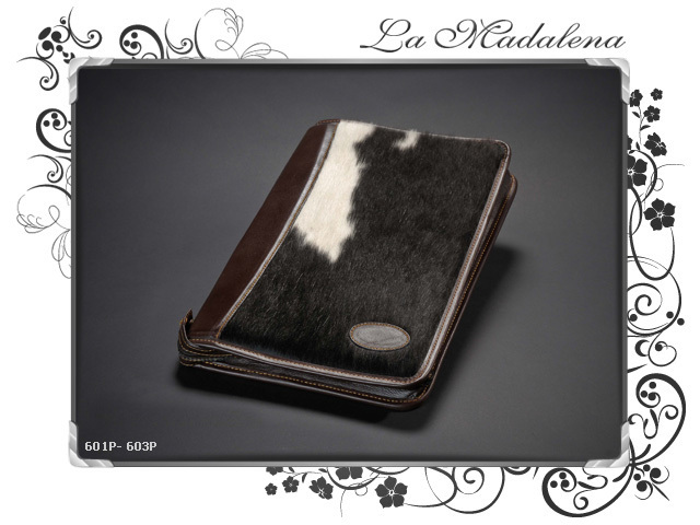 603P Stationery:  Calf hair Leather document case, folder, zipper, A4 and Legal