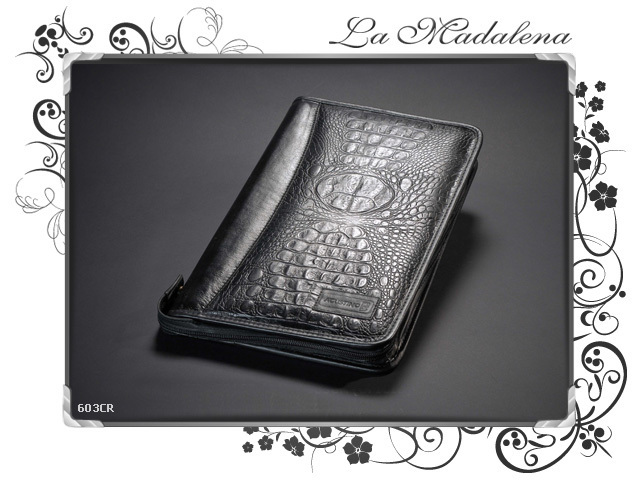 603CR Stationery: Leather document case, folder, crocodile printed style, zipper, A4 and Legal