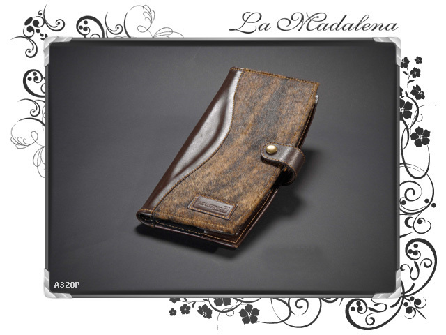 320P Stationery: cards/menu Holder, leather, Calf hair leather