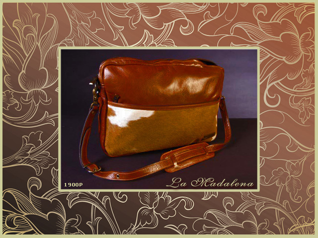 1900P Calf hair leather bag, suitable for laptop, pocket in the front