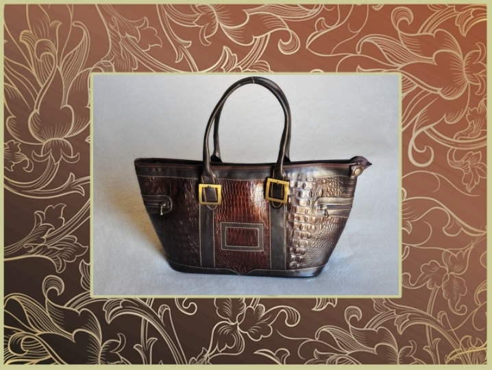2852CR Leather Grand Prix bag, crocodile printed style, big size