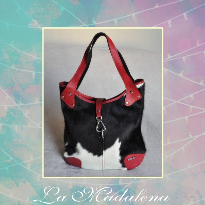 9427 Calf-hair leather handbag, white and black, red border, Unique item