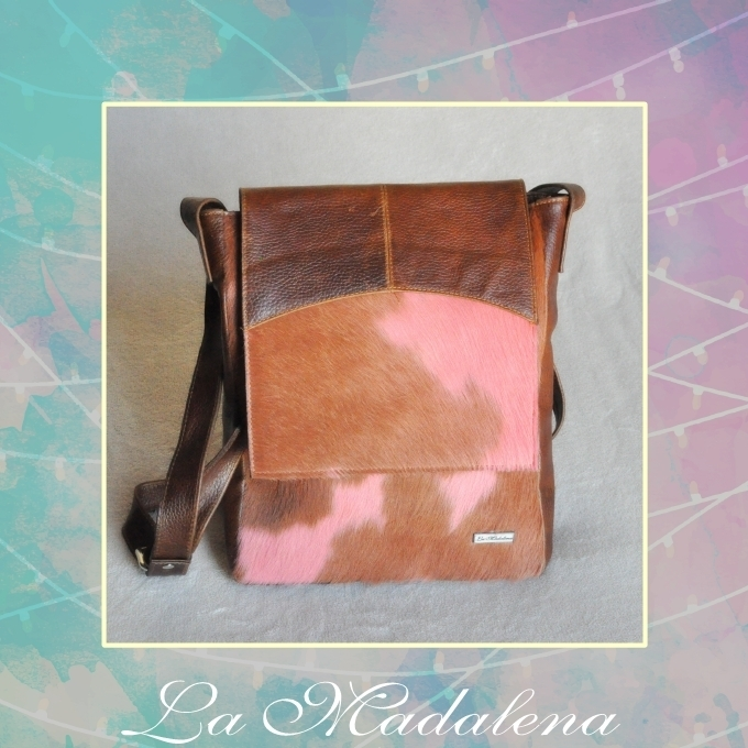 9414 Calf-hair leather shoulder bag, pink and brown, brown border, Unique item