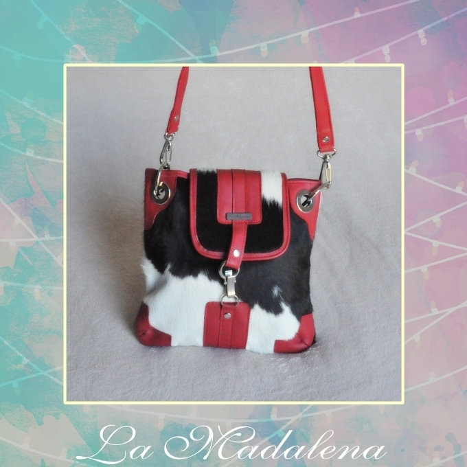 9417 Calf-hair leather shoulder bag, white and black, red border, Unique item