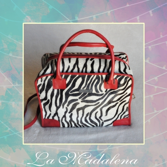 9428 Calf-hair leather suitcase, white and black, zebra, red border,  Unique item