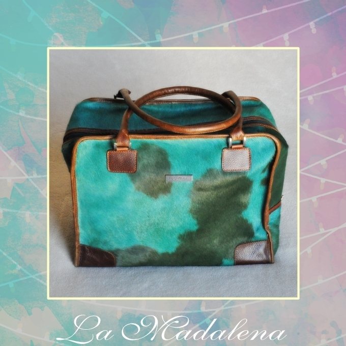 9433 Calf-hair leather suitcase, green and turquoise, brown border,  Unique item
