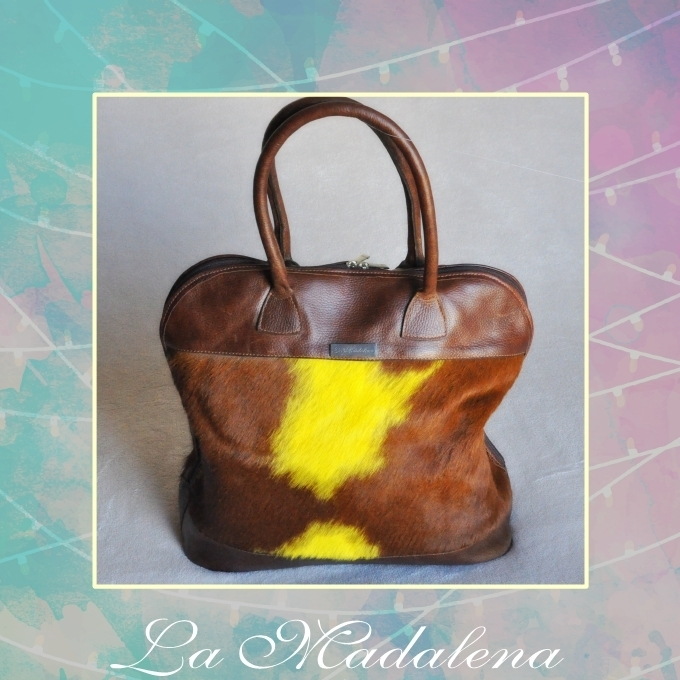 9431 Calf-hair leather totem handbag,  brown and yellow, brown border,  Unique item