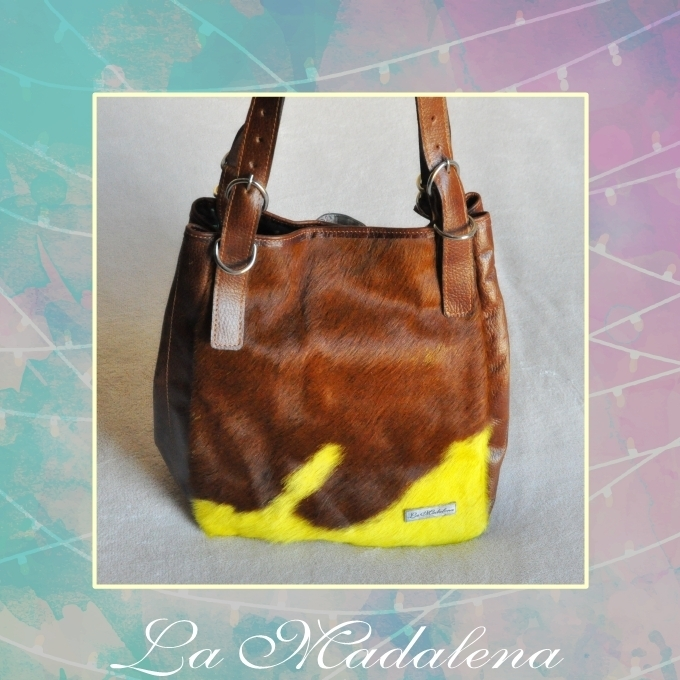 9401 Calf hair leather shoulder bag, brown and yellow, Unique item