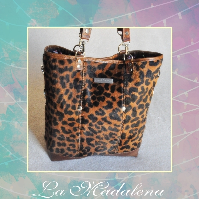 9410 Calf-hair leather handbag, leopard, brown and black, brown border, Unique item
